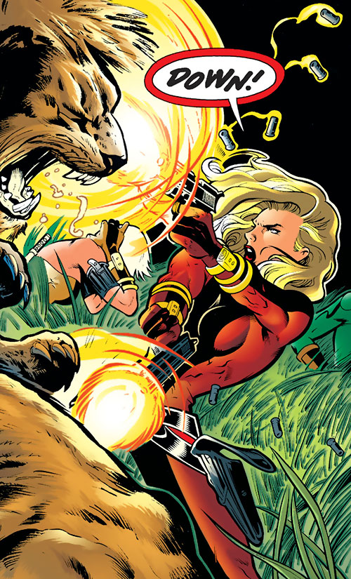Pistolera of the Ravens (Birds of Prey enemy) (DC Comics) guns down 2 prehistoric lions