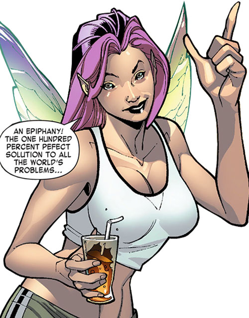 Pixie of the X-Men (Marvel Comics) with a white top and a glass