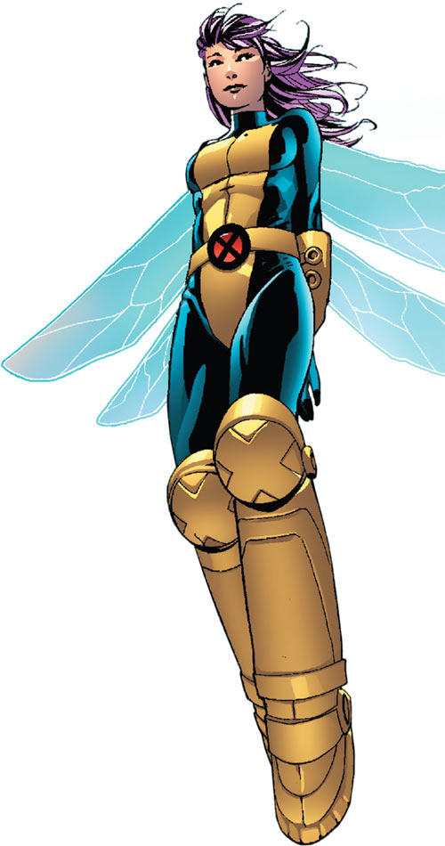 Pixie of the X-Men (Marvel Comics) hovering blue wings big boots