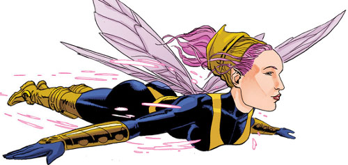 Pixie of the X-Men (Marvel Comics) flying
