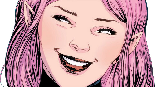 Pixie of the X-Men (Marvel Comics) smiling face closeup