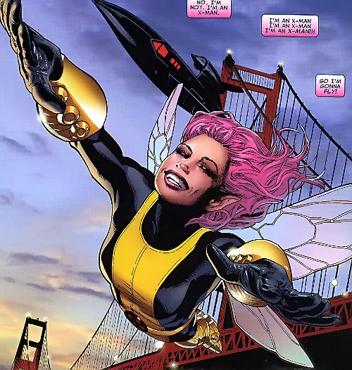 Pixie of the X-Men (Marvel Comics) flying near the San Francisco bridge