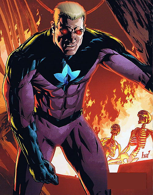 Plutonian (Irredeemable Boom Comics) and burning corpses