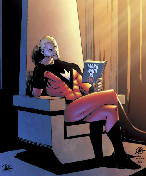 Plutonian (Irredeemable Boom Comics) reading on a throne