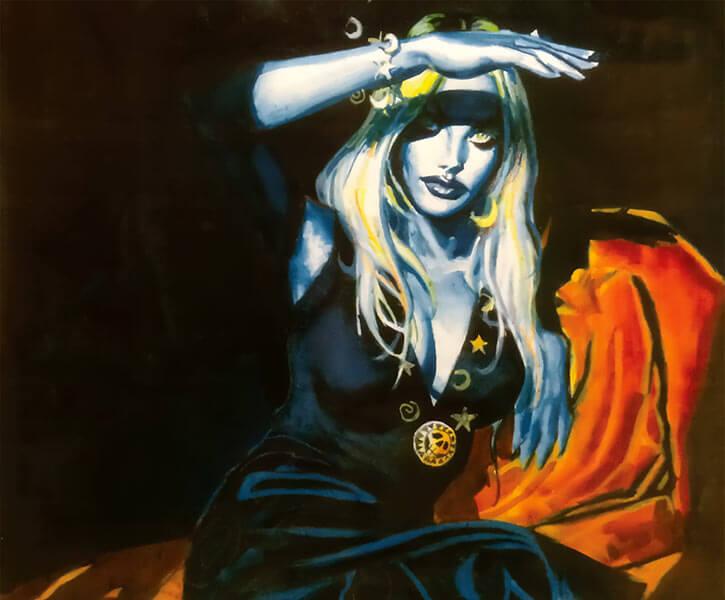 Polychrome (Nocturnals comics) (Dan Brereton) black dress shielding eyes