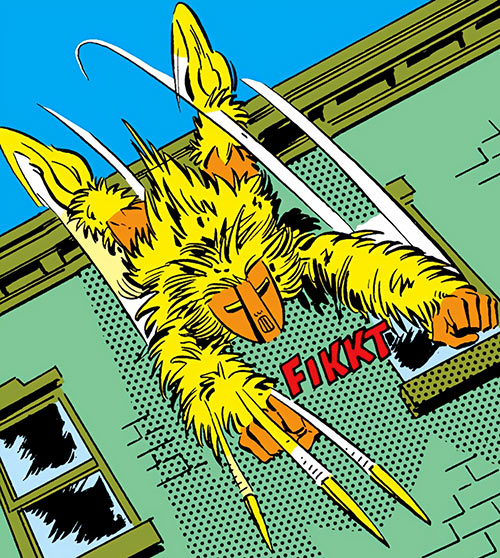 Porcupine (Marvel Comics) (Second suit) leaping from a rooftop while shooting quills