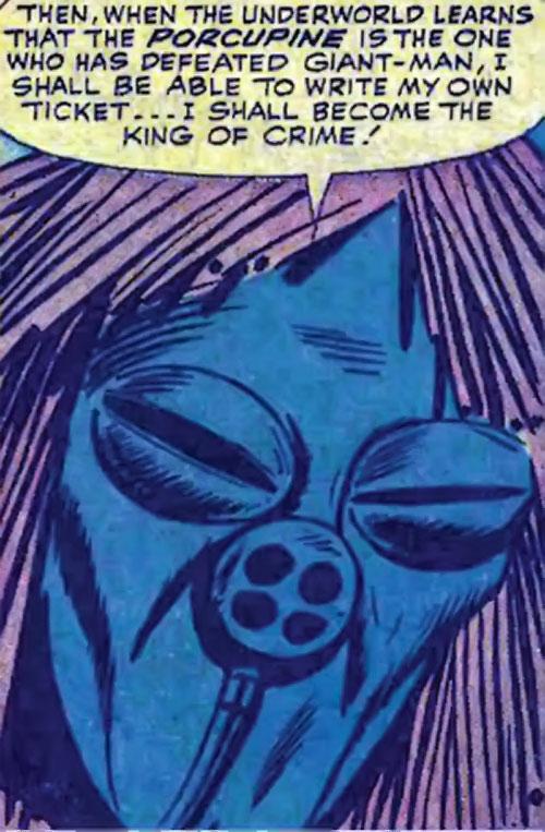 Porcupine (Marvel Comics) gas mask closeup