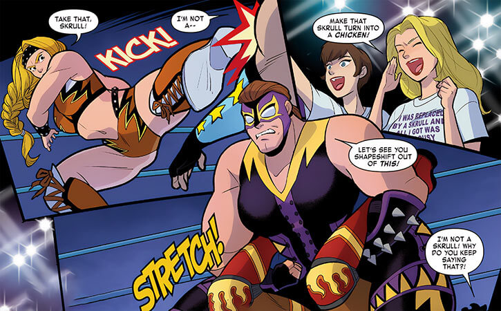 Poundcakes and Letha (Marvel Comics) wrestling in their Wasp-designed costumes