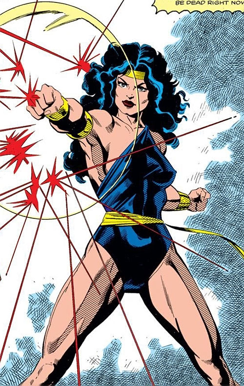 Power Princess of the Squadron Supreme (Marvel Comics) using her shield