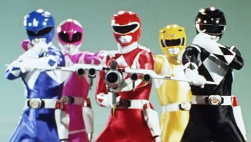 Mighty Morphin' Power Rangers team with assembled power blaster