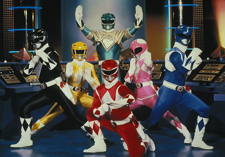 Mighty Morphin' Power Rangers team posing in the command center