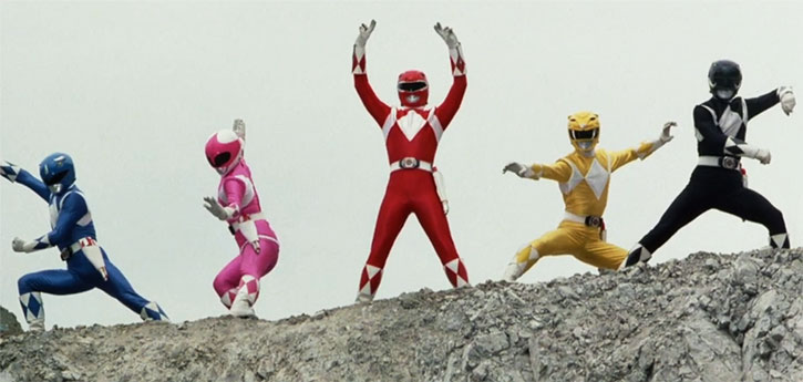 Mighty Morphin' Power Rangers team posing in a quarry