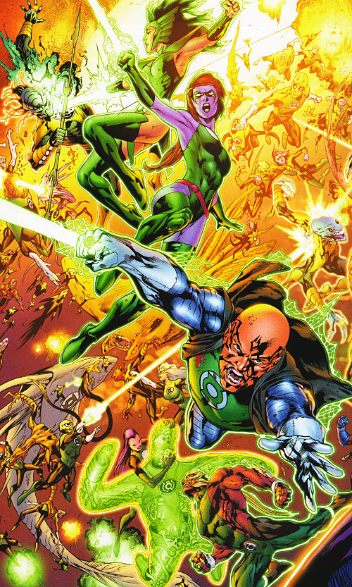 Green Lantern (DC Comics) - yellow lanterns vs. green lanterns battle