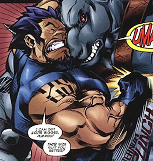 Powerhaus (DV8) (Wildstorm Comics) fighting a bestial giant