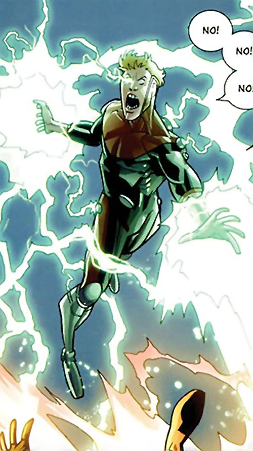 Powerplex (Invincible comics) flying and attacking with torrents of energy