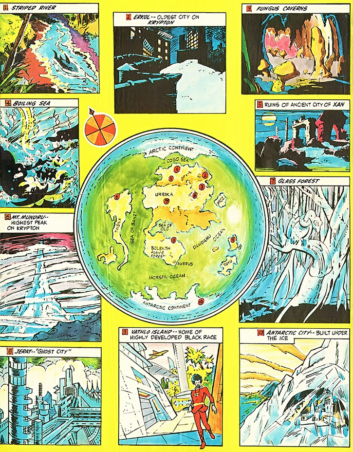 Map and locations on pre-Crisis Krypton, hemisphere #2