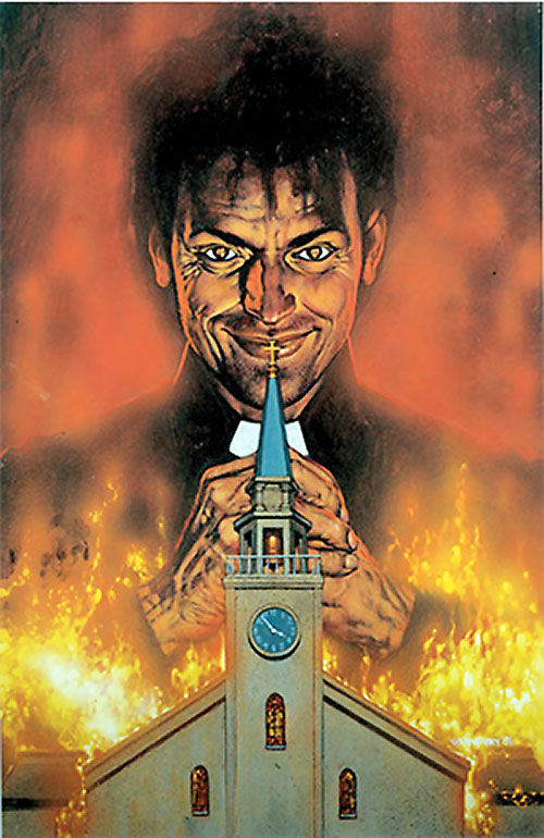 Preacher (Jesse Custer) (DC Comics Vertigo) and a burning church