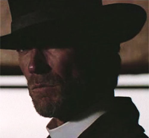 The preacher (Clint Eastwood in Pale Rider) face closeup