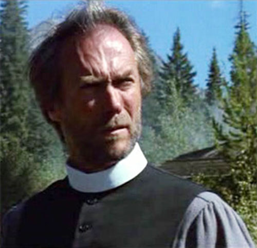 The preacher (Clint Eastwood in Pale Rider) with his collar on