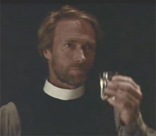 The preacher (Clint Eastwood in Pale Rider) toasting