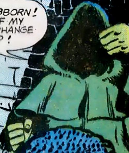Preying Mantis (Richard Dragon enemy) (DC Comics) with his hood up