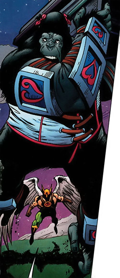 Primat of the Dreambound (DC Comics trinity) chased by Hawkman