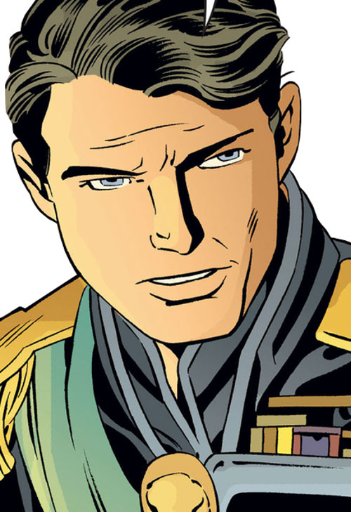 Prince Charming of the Fables (DC Comics) face closeup in uniform