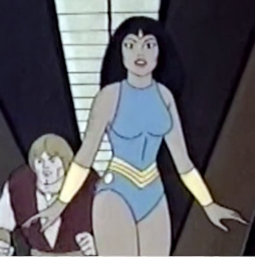Princess Ariel (Thundarr the Barbarian) in a corridor with Thundarr