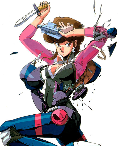 Priss Asagari of the Knights Sabre (Bubblegum Crisis) with her weapons