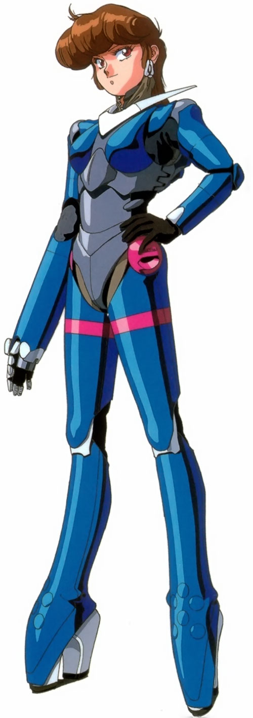Priss Asagari of the Knights Sabre (Bubblegum Crisis) in her blue hardsuit