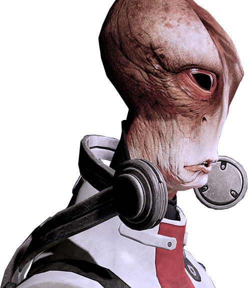 Professor Mordin Solus (Mass Effect) hi-res face side view
