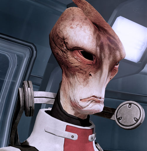 Professor Mordin Solus (Mass Effect) frown portrait