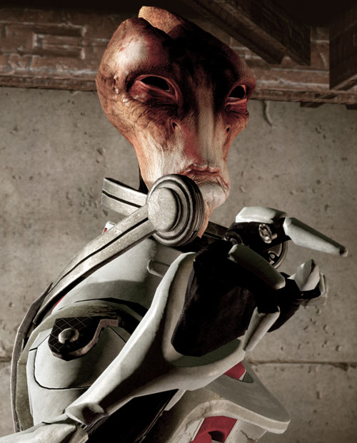 Professor Mordin Solus (Mass Effect) arguing and angrily pointing