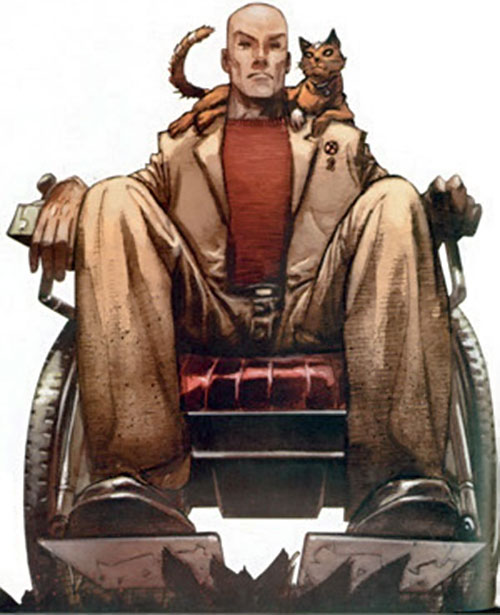 Professor X of the X-Men (Marvel Comics) in his wheelchair, with a cat