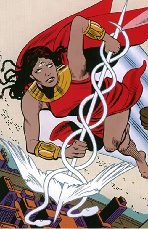 Promethea (Alan Moore ABC Comics) with a third eye and dreadlocks