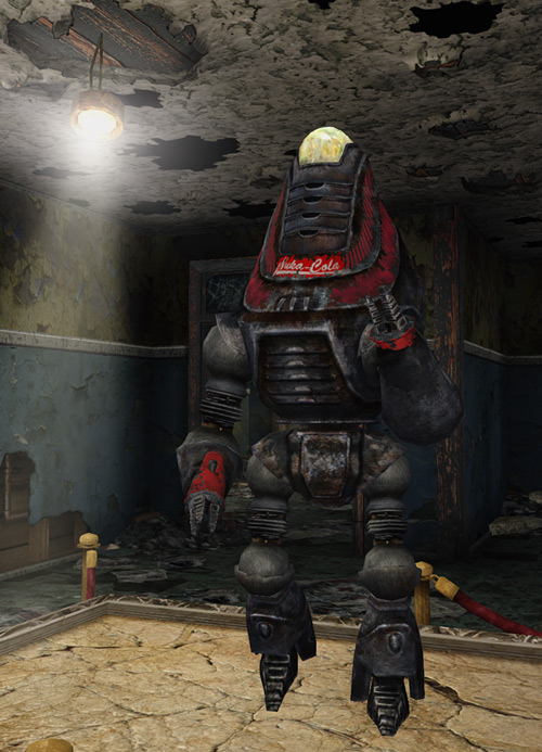 Fallout 3 - Protectron robot with Nuka-Cola logo and colors
