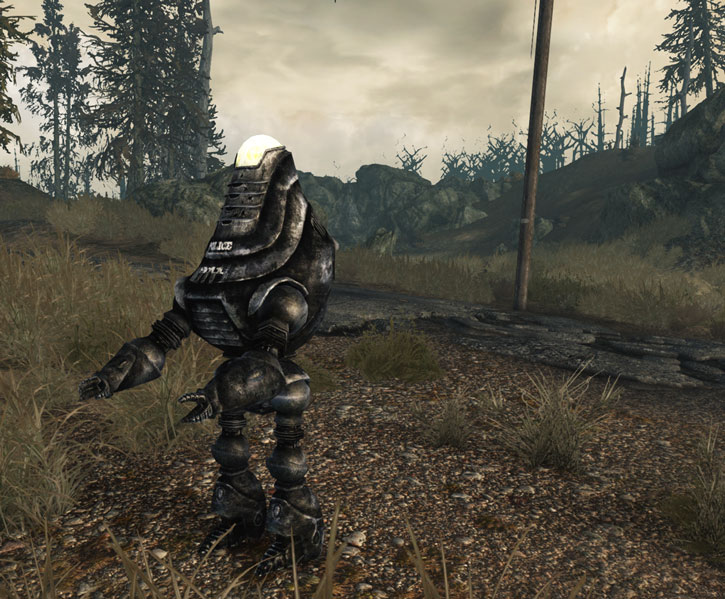 Fallout 3 - Protectron police robot near a ruined road