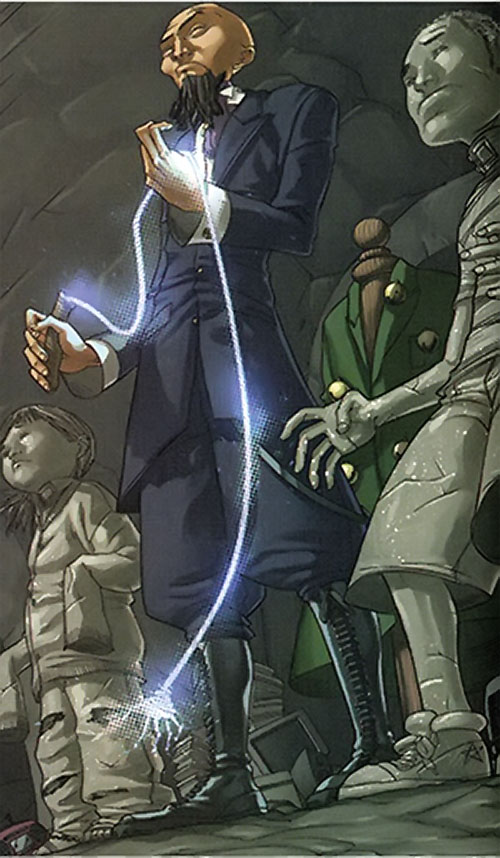 Provost (Runaways enemy) (Marvel Comics) with petrified kids and his energy whip