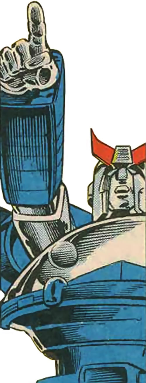 Prowl of the Transformers - 1980s Marvel Comics version - Pointing close-up