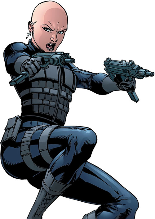 Prudence of the League of Assassins (Red Robin DC Comics) tactical vest dual-wields uzis