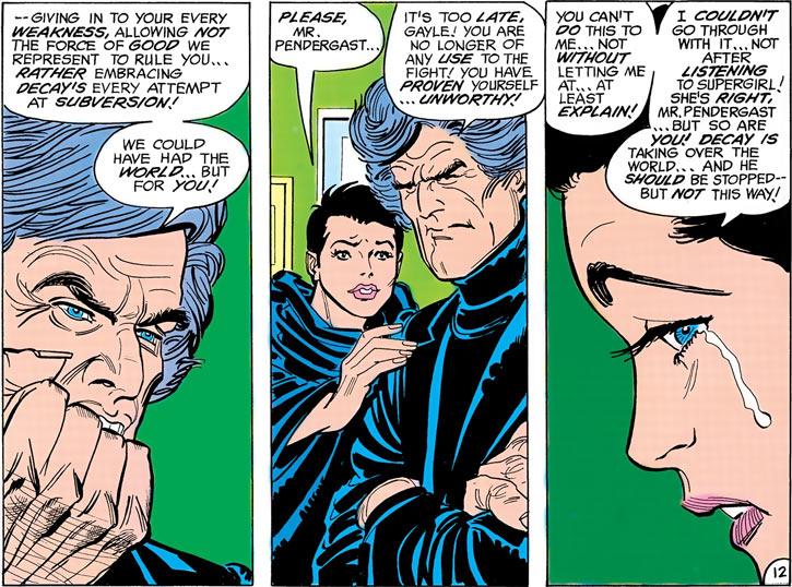 Psi (Gayle Marsh) and Dr. Pendergast arguing (Supergirl / DC Comics)