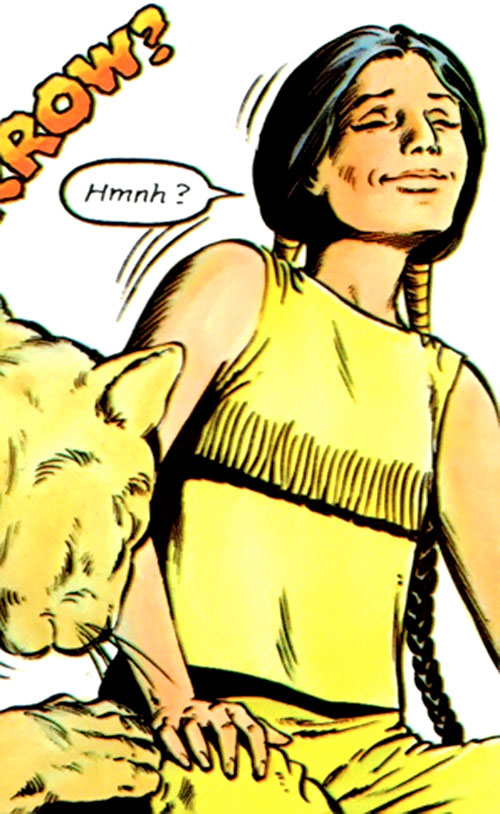 Psyche (Danielle Moonstar of the New Mutants) (Marvel Comics) and a puma