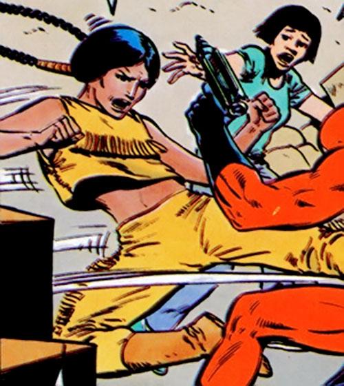 Psyche (Danielle Moonstar of the New Mutants) (Marvel Comics) doing a flying kick