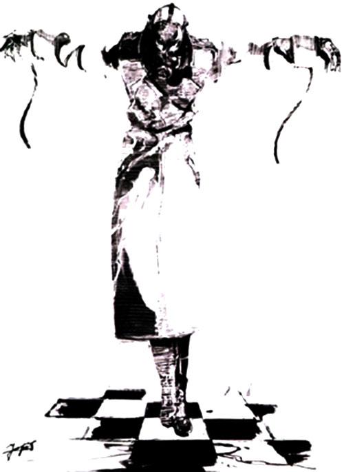Psycho Mantis (Metal Gear) in a long coat B&W art