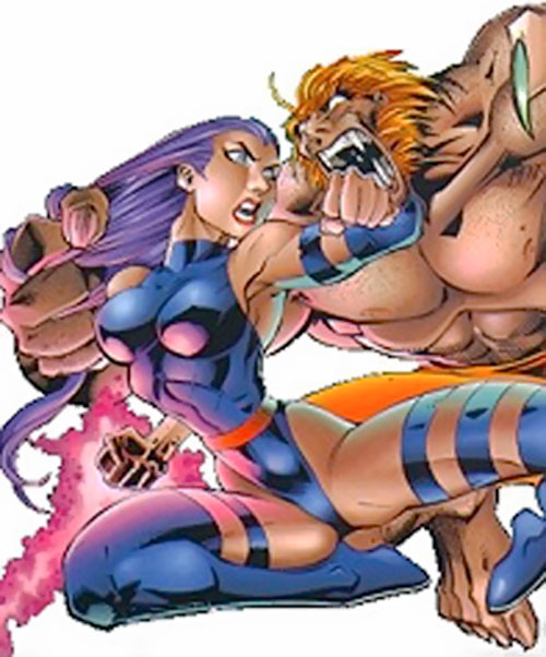 Psylocke of the X-Men (1990s Marvel Comics) vs. Sabretooth
