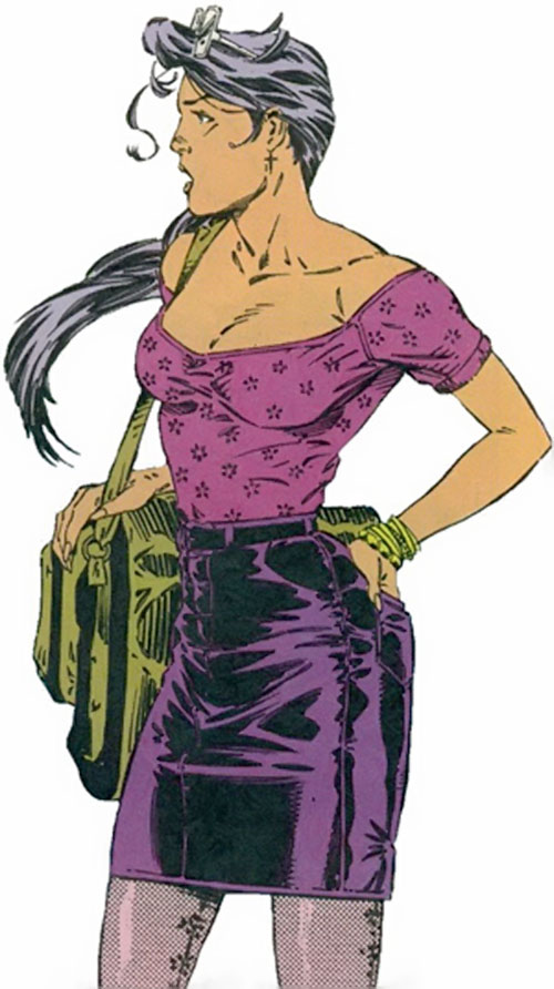 Psylocke of the X-Men (1990s Marvel Comics) in a purple skirt and top