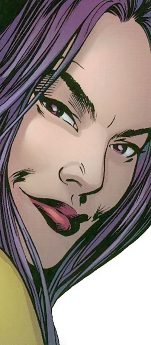 Psylocke of the X-Men and Exiles (Marvel Comics) smirking face closeup