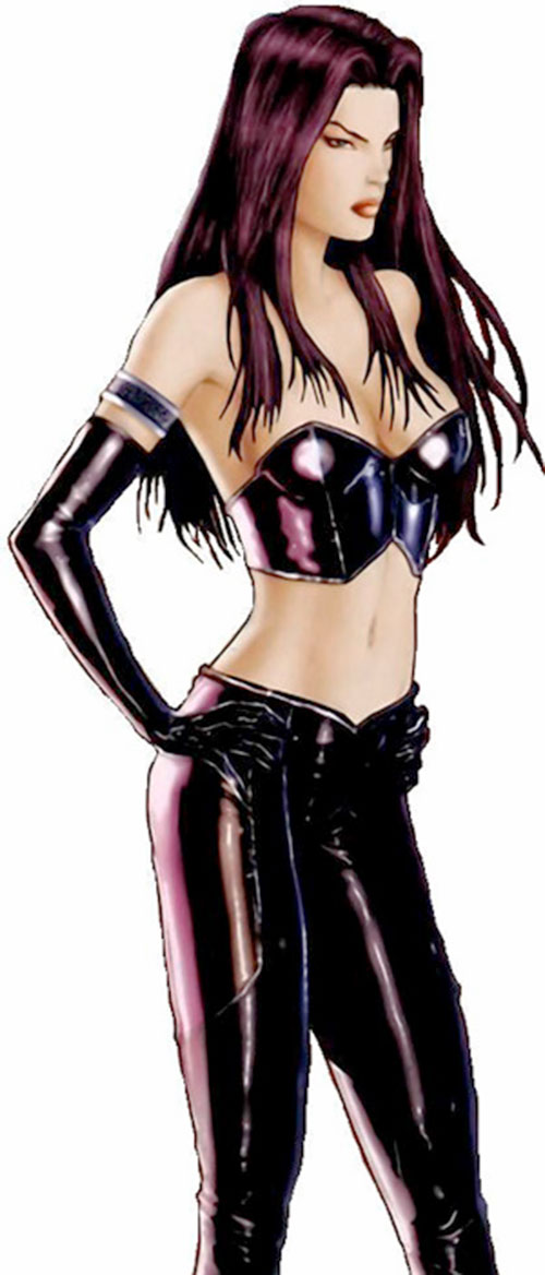 Psylocke of the X-Men and Exiles (Marvel Comics) in black leather club wear
