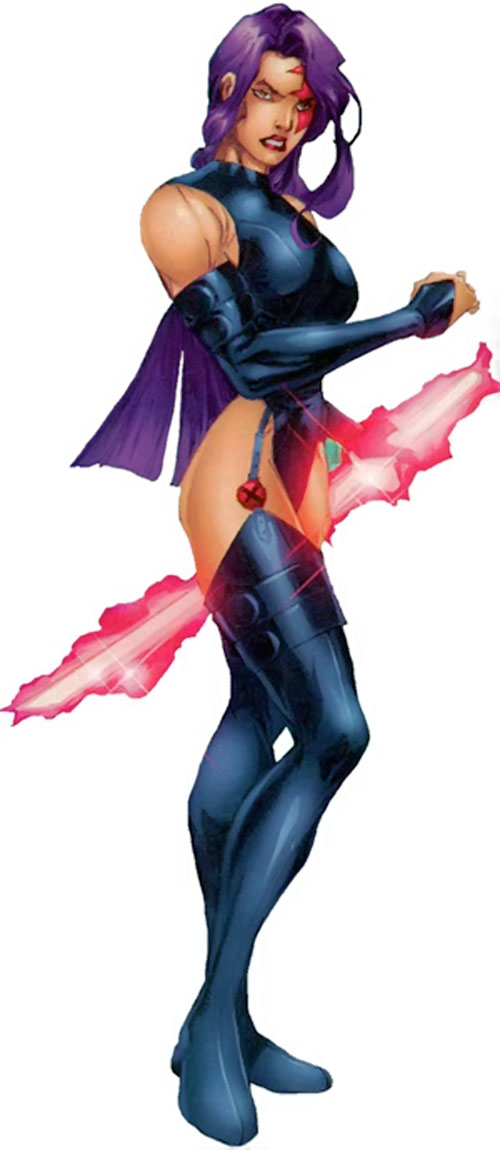 Psylocke of the X-Men and Exiles (Marvel Comics) ready for battle