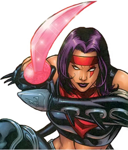 Psylocke of the X-Men and Exiles (Marvel Comics) with psychic katana